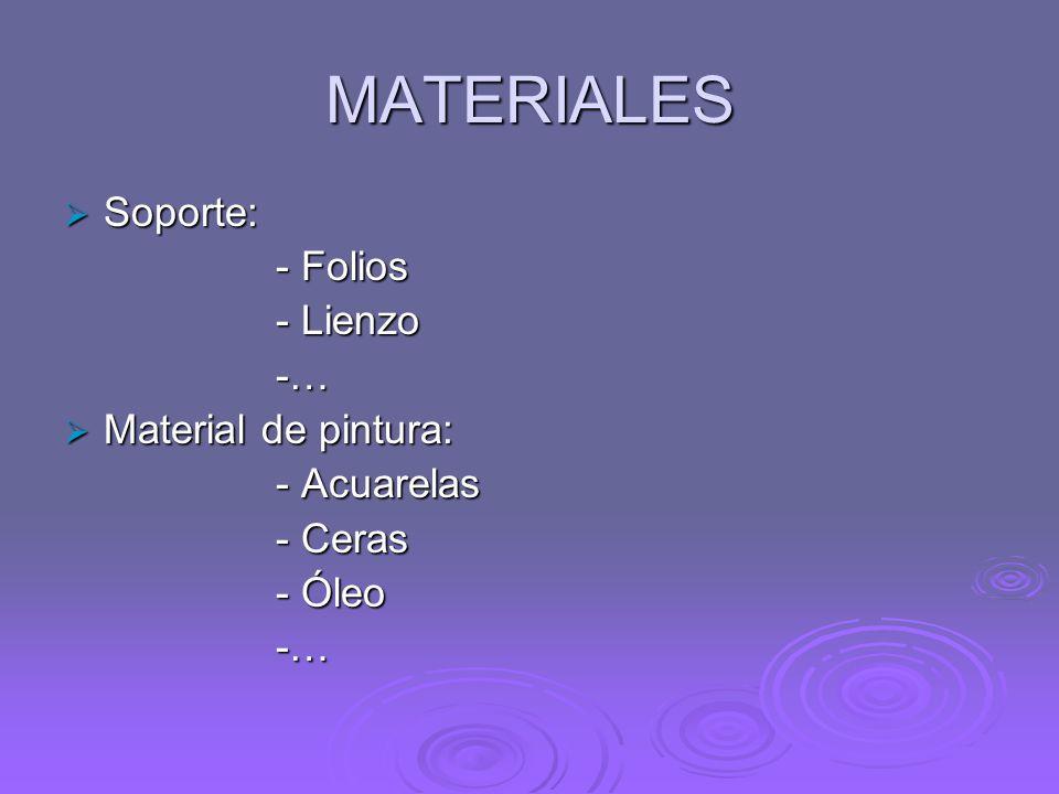 MATERIALES Soporte: - Folios - Lienzo -… Material de pintura: