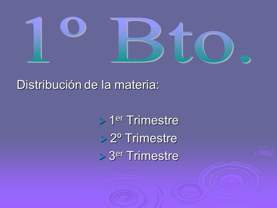 1º Bto. Distribución de la materia: 1er Trimestre 2º Trimestre