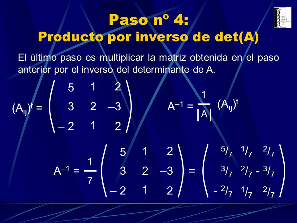 Paso nº 4: Producto por inverso de det(A)