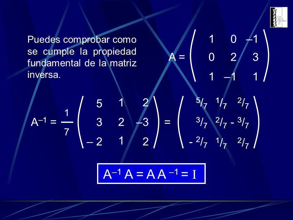 A–1 A = A A –1 = I 1 –1 2 3 A = A–1 = 3 5 – 2 2 –3 = - 3/7 - 2/7 3/7