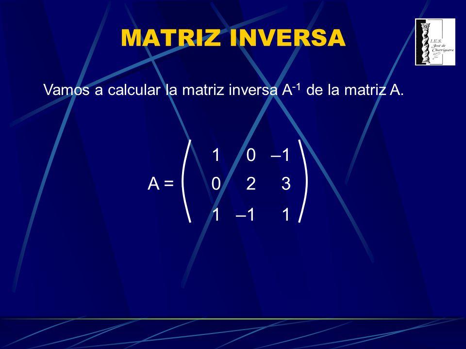 MATRIZ INVERSA Vamos a calcular la matriz inversa A-1 de la matriz A. 1 –1 2 3 A =