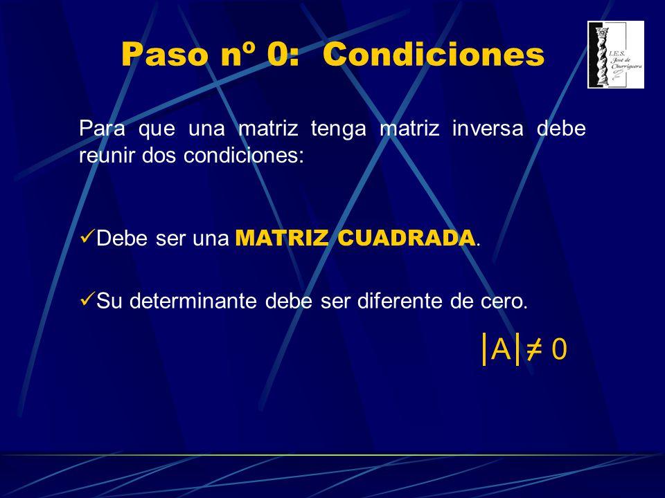 Paso nº 0: Condiciones A = 0