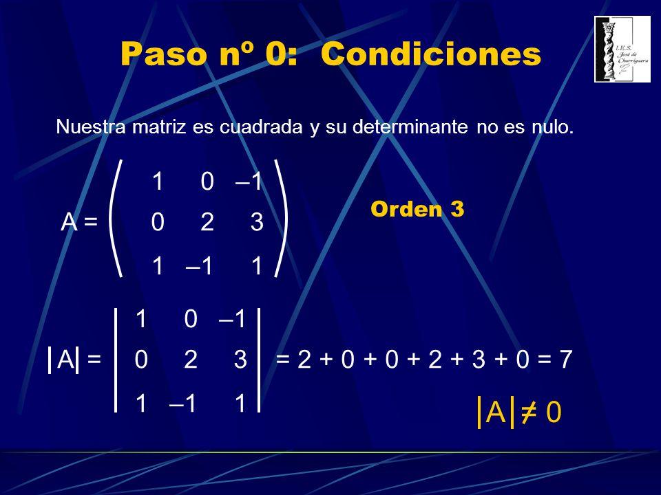 Paso nº 0: Condiciones A = 0 1 –1 2 3 A = 1 –1 2 3 A =