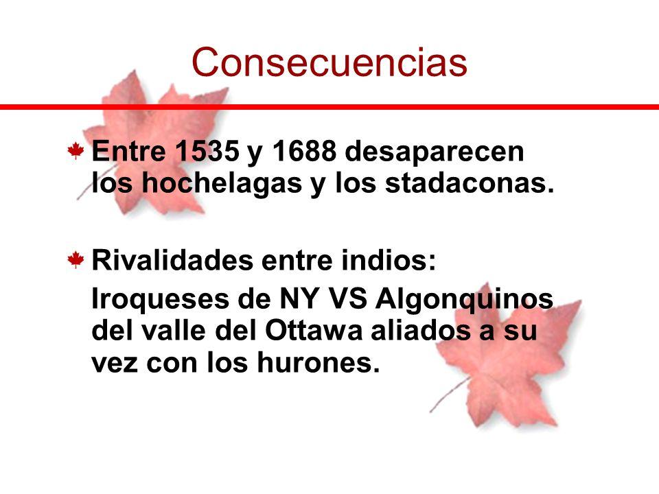 Consecuencias Entre 1535 y 1688 desaparecen los hochelagas y los stadaconas. Rivalidades entre indios: