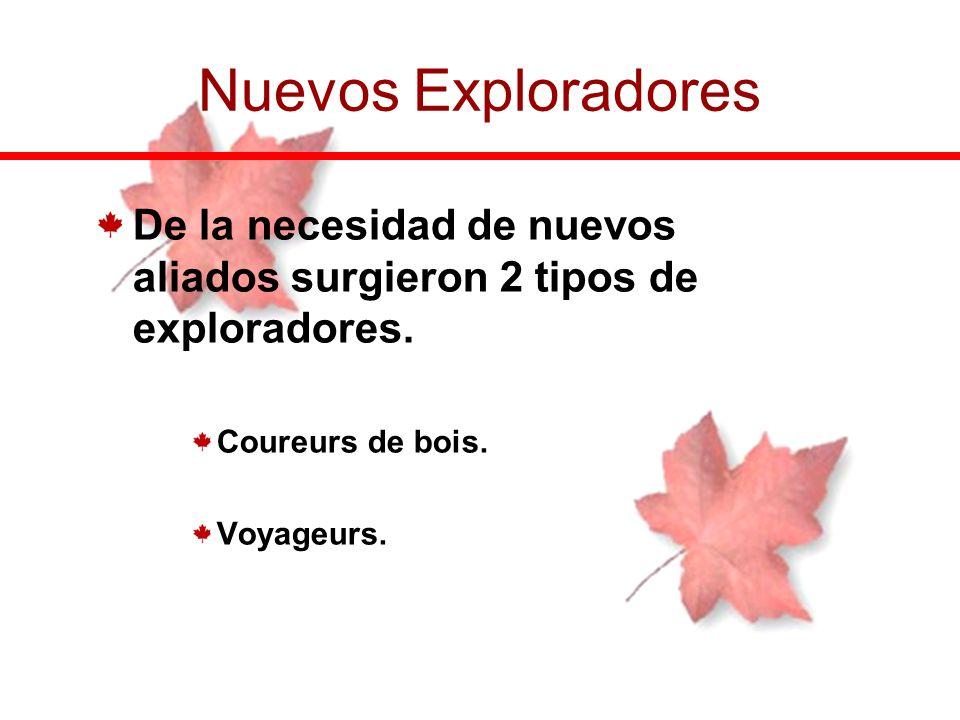Nuevos Exploradores De la necesidad de nuevos aliados surgieron 2 tipos de exploradores. Coureurs de bois.