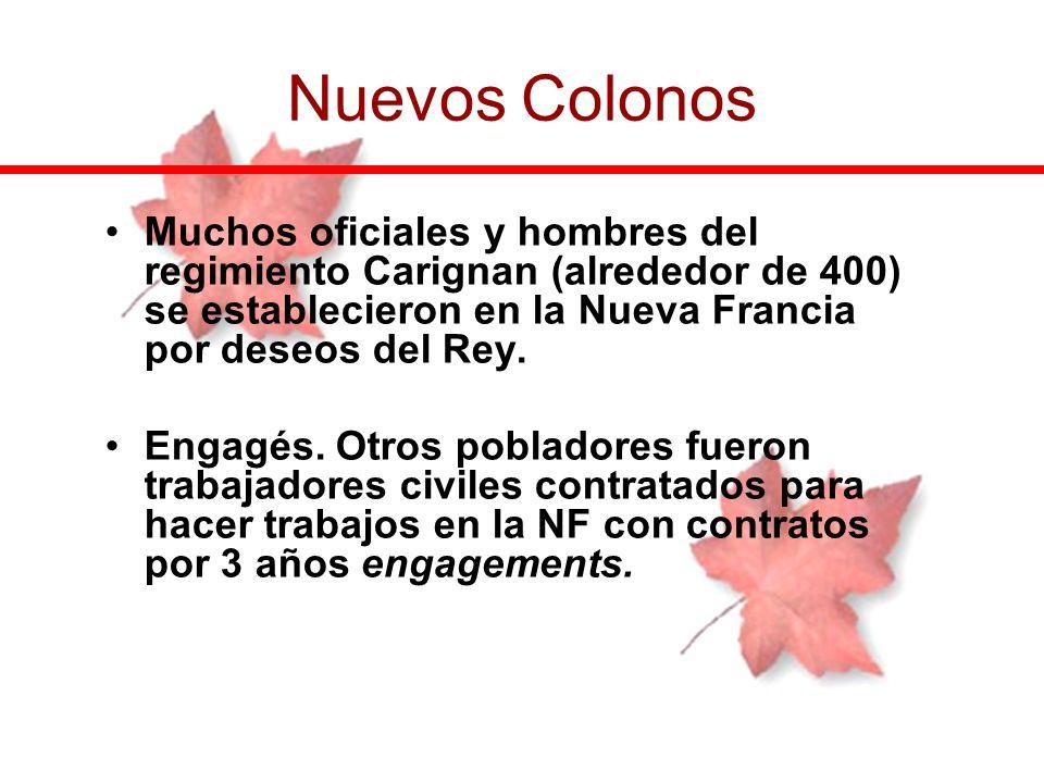 Nuevos Colonos Muchos oficiales y hombres del regimiento Carignan (alrededor de 400) se establecieron en la Nueva Francia por deseos del Rey.