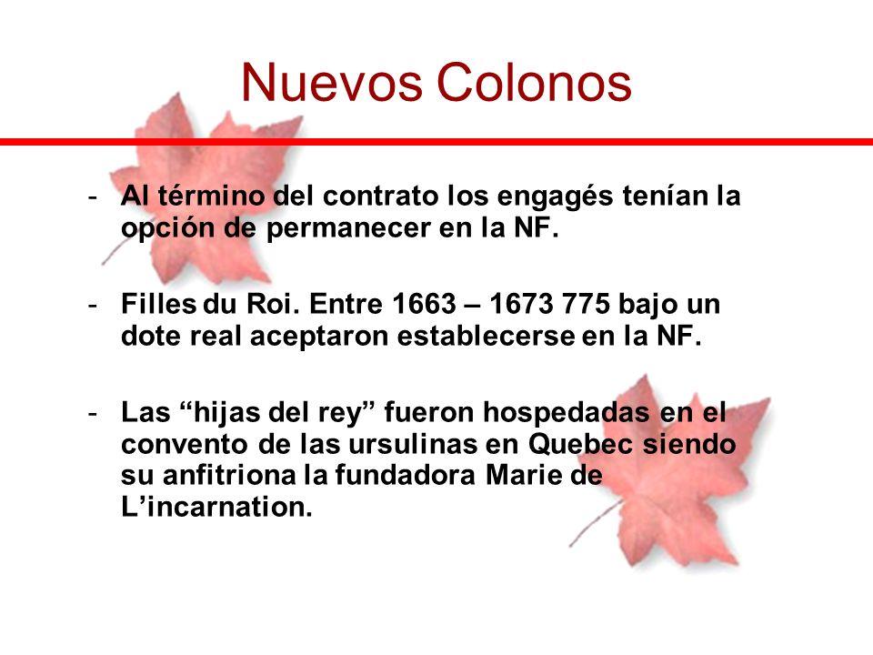 Nuevos Colonos Al término del contrato los engagés tenían la opción de permanecer en la NF.