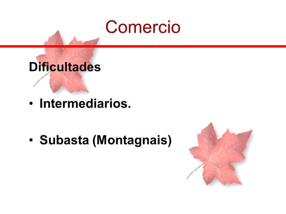 Comercio Dificultades Intermediarios. Subasta (Montagnais)