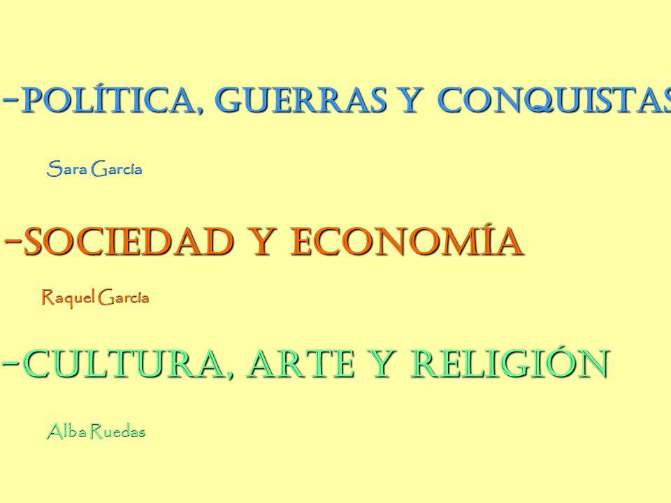 Apartados -SOCIEDAD Y ECONOMÍA -CULTURA, ARTE Y RELIGIÓN
