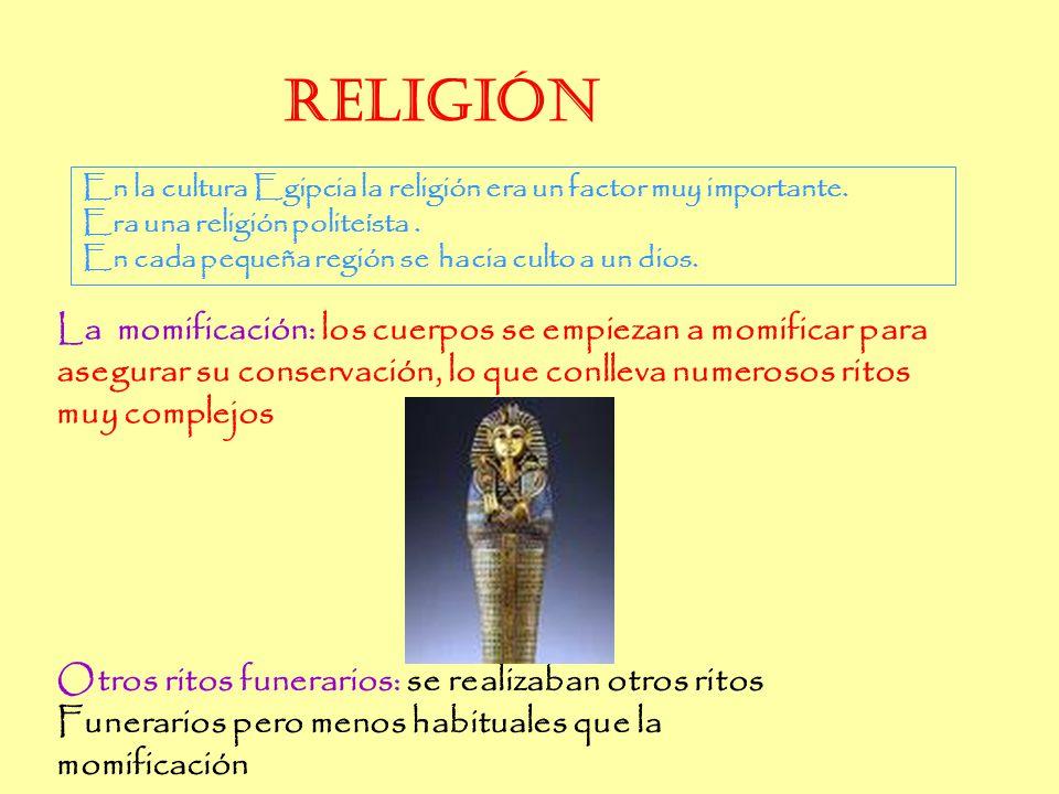 Religión Religión. En la cultura Egipcia la religión era un factor muy importante. Era una religión politeísta .