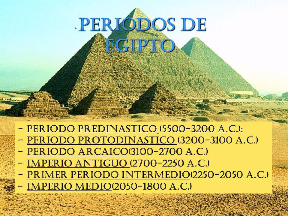 Periodos de Egipto Periodo predinastico (5500-3200 a.C.):