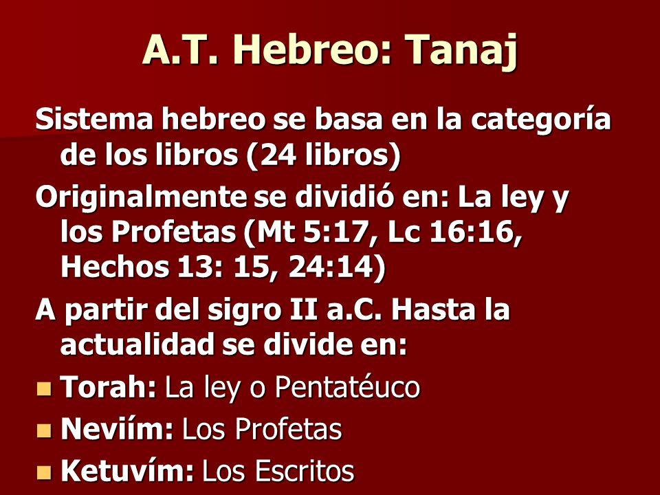 A.T. Hebreo: Tanaj Sistema hebreo se basa en la categoría de los libros (24 libros)