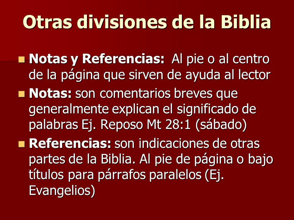 Otras divisiones de la Biblia