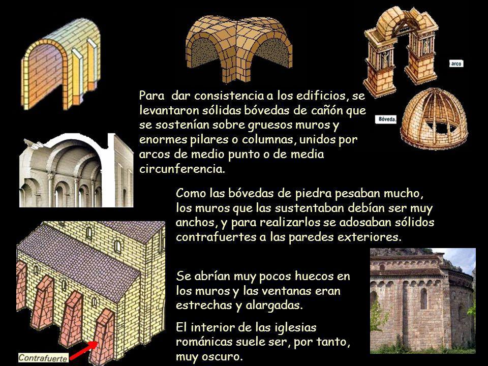 Para dar consistencia a los edificios, se levantaron sólidas bóvedas de cañón que se sostenían sobre gruesos muros y enormes pilares o columnas, unidos por arcos de medio punto o de media circunferencia.