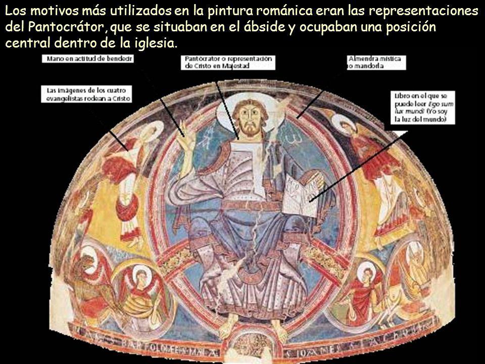 Los motivos más utilizados en la pintura románica eran las representaciones del Pantocrátor, que se situaban en el ábside y ocupaban una posición central dentro de la iglesia.