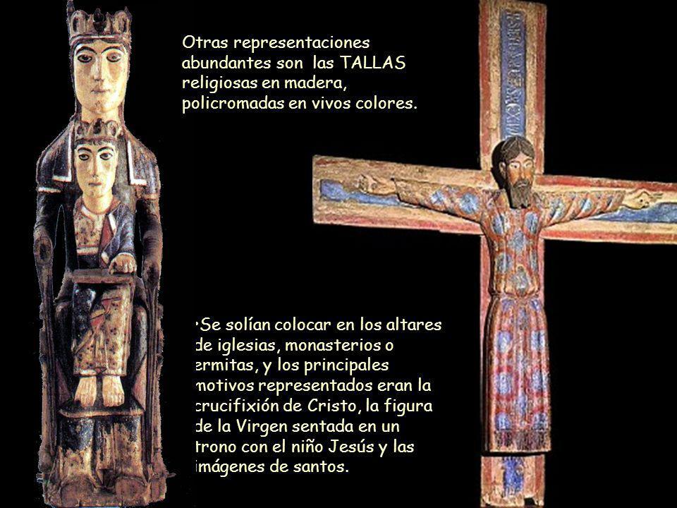 Otras representaciones abundantes son las TALLAS religiosas en madera, policromadas en vivos colores.