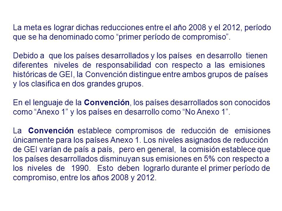 La meta es lograr dichas reducciones entre el año 2008 y el 2012, período que se ha denominado como primer período de compromiso .