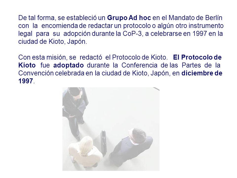 De tal forma, se estableció un Grupo Ad hoc en el Mandato de Berlín con la encomienda de redactar un protocolo o algún otro instrumento legal para su adopción durante la CoP-3, a celebrarse en 1997 en la ciudad de Kioto, Japón.