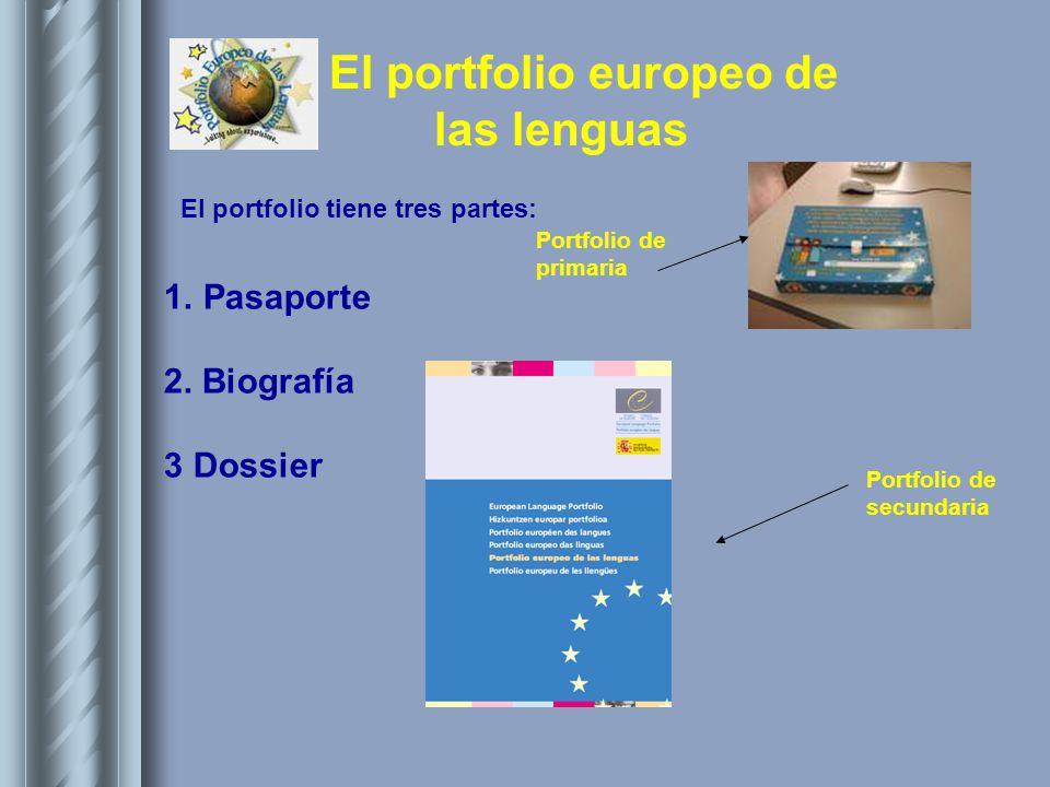 Pasaporte 2. Biografía 3 Dossier El portfolio tiene tres partes: