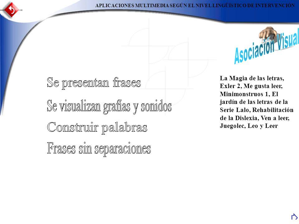 Asociación Visual Se presentan frases Se visualizan grafías y sonidos