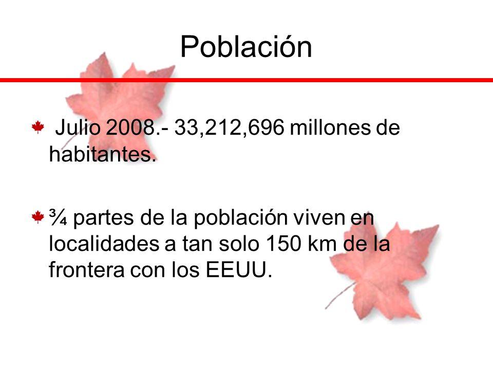 Población Julio 2008.- 33,212,696 millones de habitantes.
