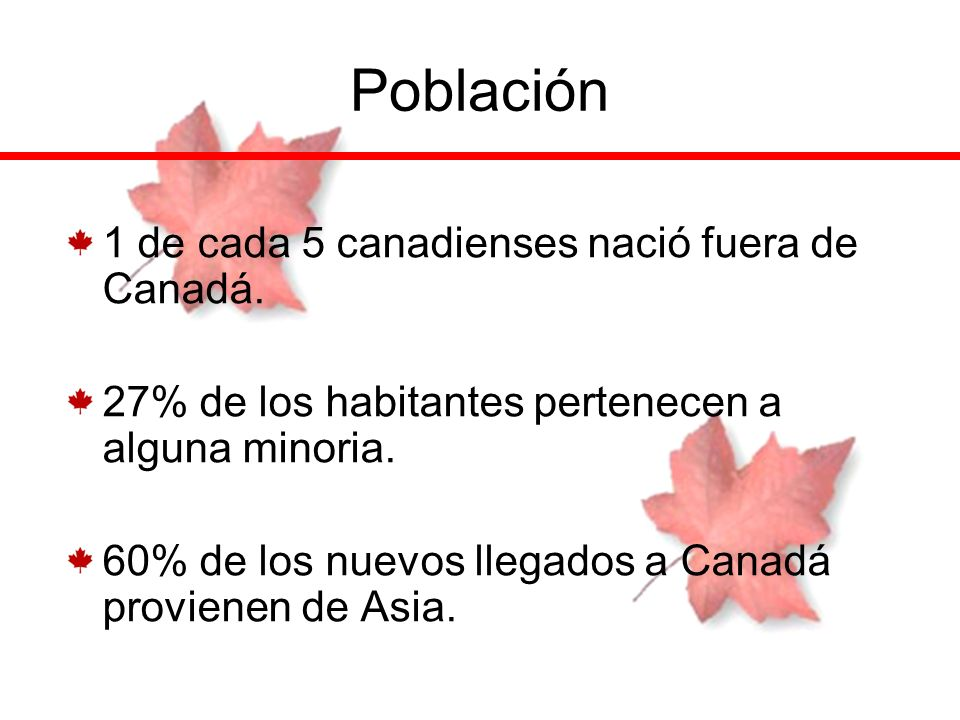 Población 1 de cada 5 canadienses nació fuera de Canadá.