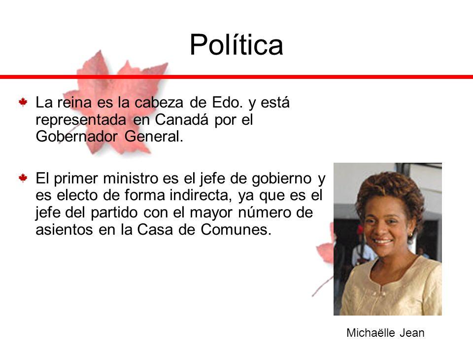 Política La reina es la cabeza de Edo. y está representada en Canadá por el Gobernador General.