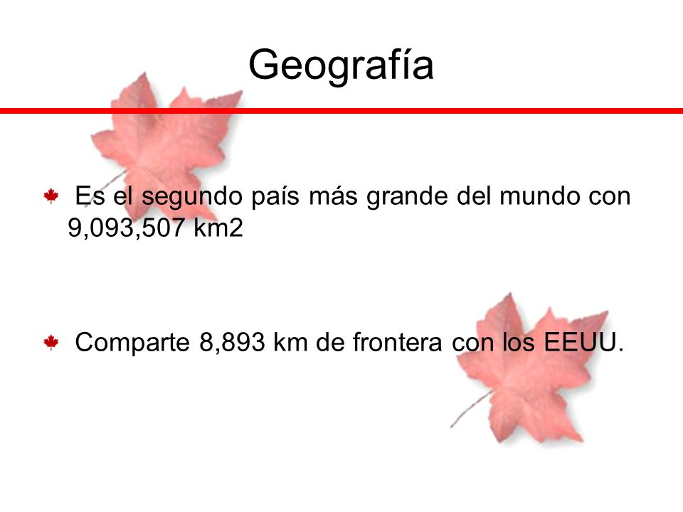 Geografía Es el segundo país más grande del mundo con 9,093,507 km2