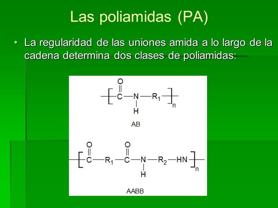 Las poliamidas (PA) La regularidad de las uniones amida a lo largo de la cadena determina dos clases de poliamidas: