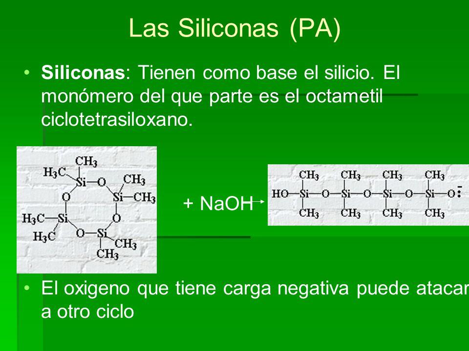 Las Siliconas (PA) Siliconas: Tienen como base el silicio. El monómero del que parte es el octametil ciclotetrasiloxano.