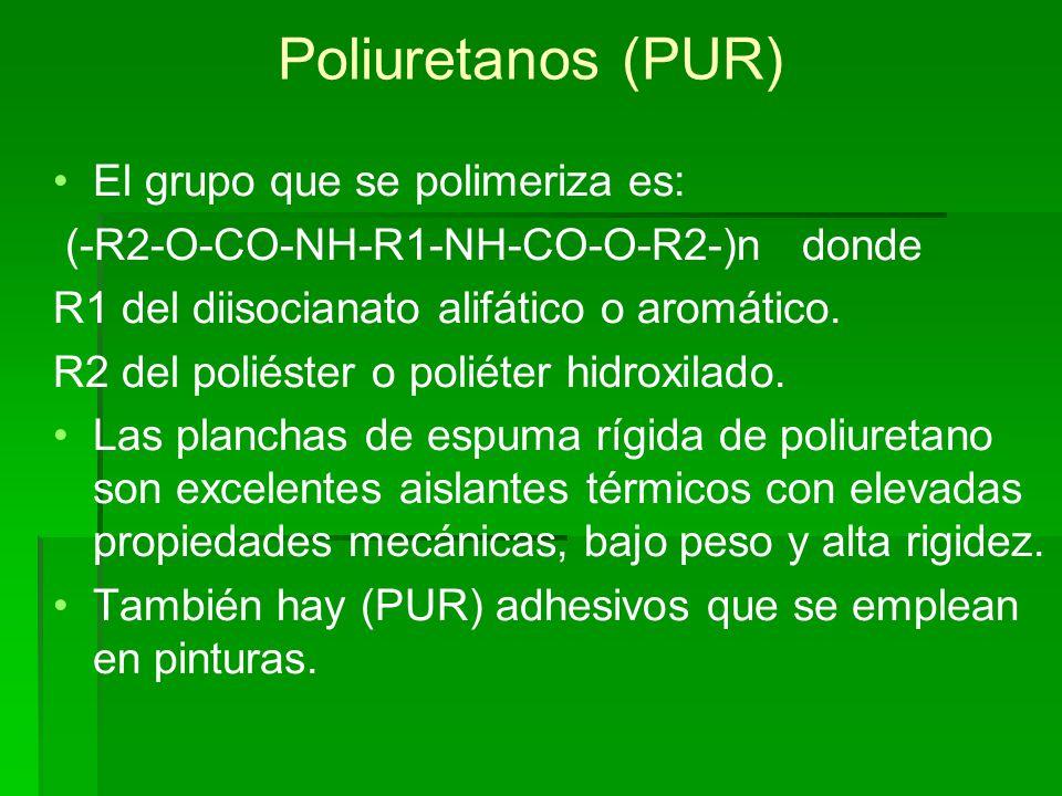 Poliuretanos (PUR) El grupo que se polimeriza es: