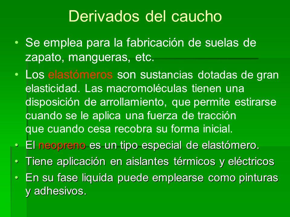 Derivados del caucho Se emplea para la fabricación de suelas de zapato, mangueras, etc.
