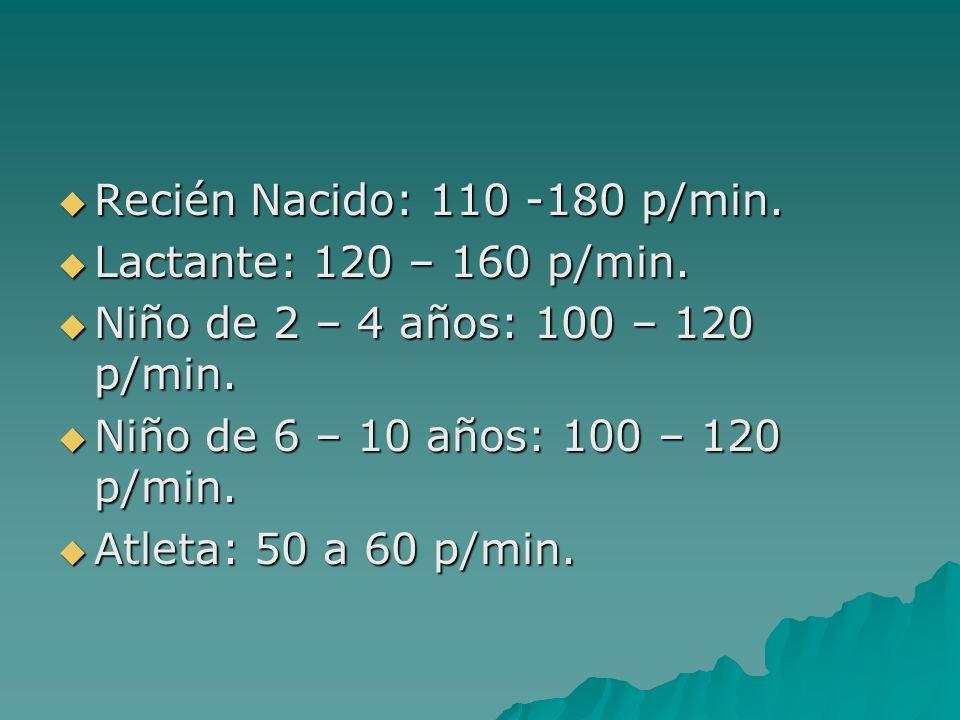 Recién Nacido: 110 -180 p/min. Lactante: 120 – 160 p/min. Niño de 2 – 4 años: 100 – 120 p/min. Niño de 6 – 10 años: 100 – 120 p/min.
