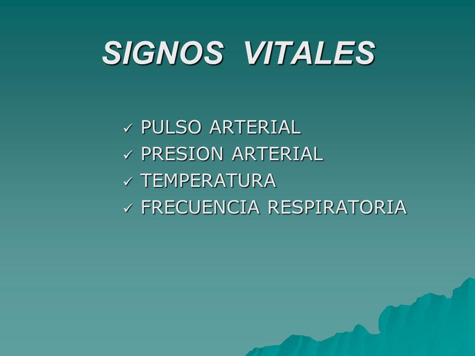 SIGNOS VITALES PULSO ARTERIAL PRESION ARTERIAL TEMPERATURA