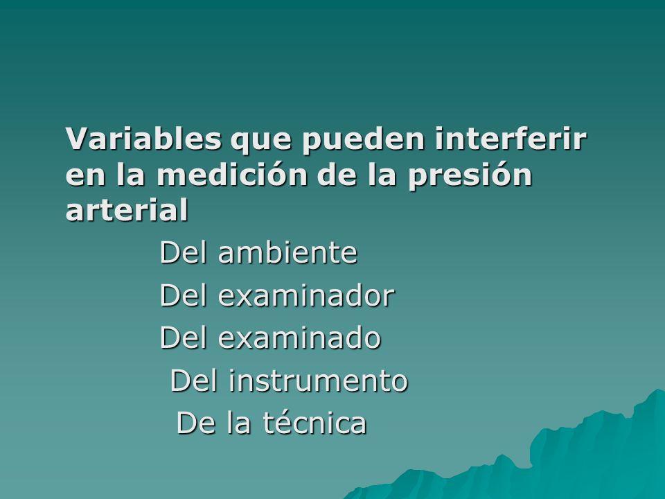 Variables que pueden interferir en la medición de la presión arterial