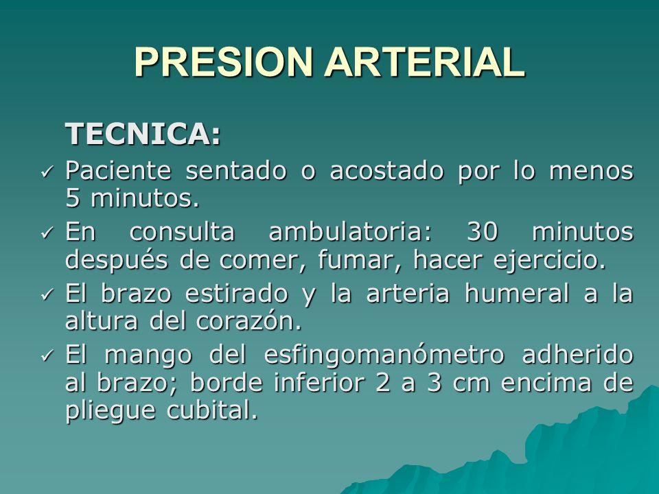 PRESION ARTERIAL TECNICA: