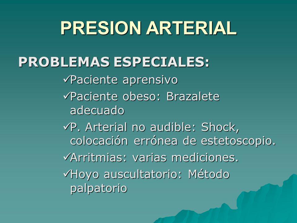 PRESION ARTERIAL PROBLEMAS ESPECIALES: Paciente aprensivo