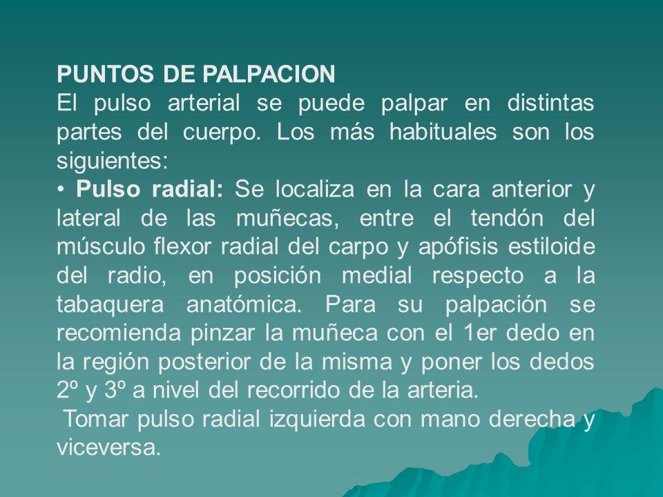 PUNTOS DE PALPACIONEl pulso arterial se puede palpar en distintas partes del cuerpo. Los más habituales son los siguientes: