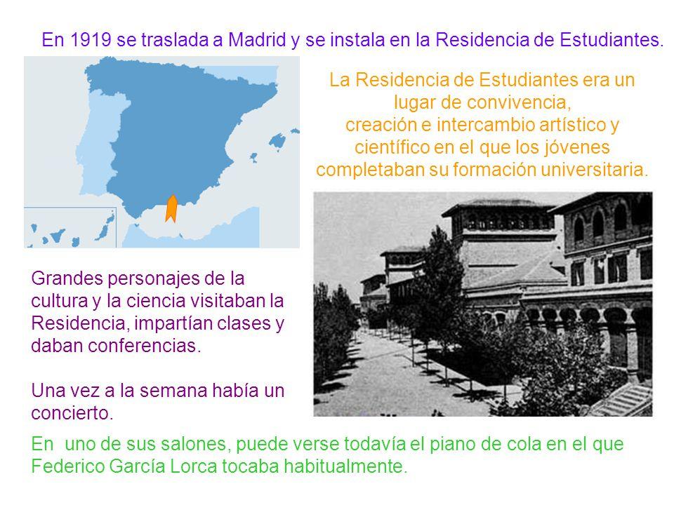 En 1919 se traslada a Madrid y se instala en la Residencia de Estudiantes.