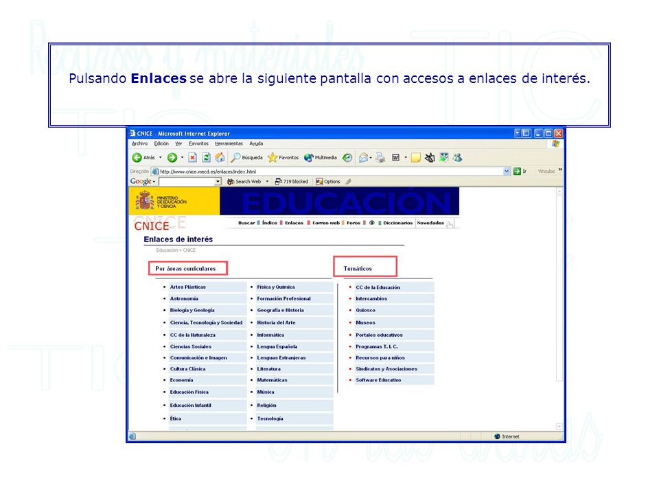 Pulsando Enlaces se abre la siguiente pantalla con accesos a enlaces de interés.