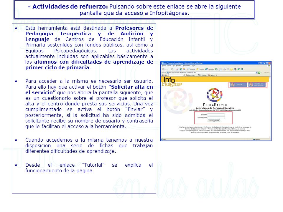 - Actividades de refuerzo: Pulsando sobre este enlace se abre la siguiente pantalla que da acceso a Infopitágoras.