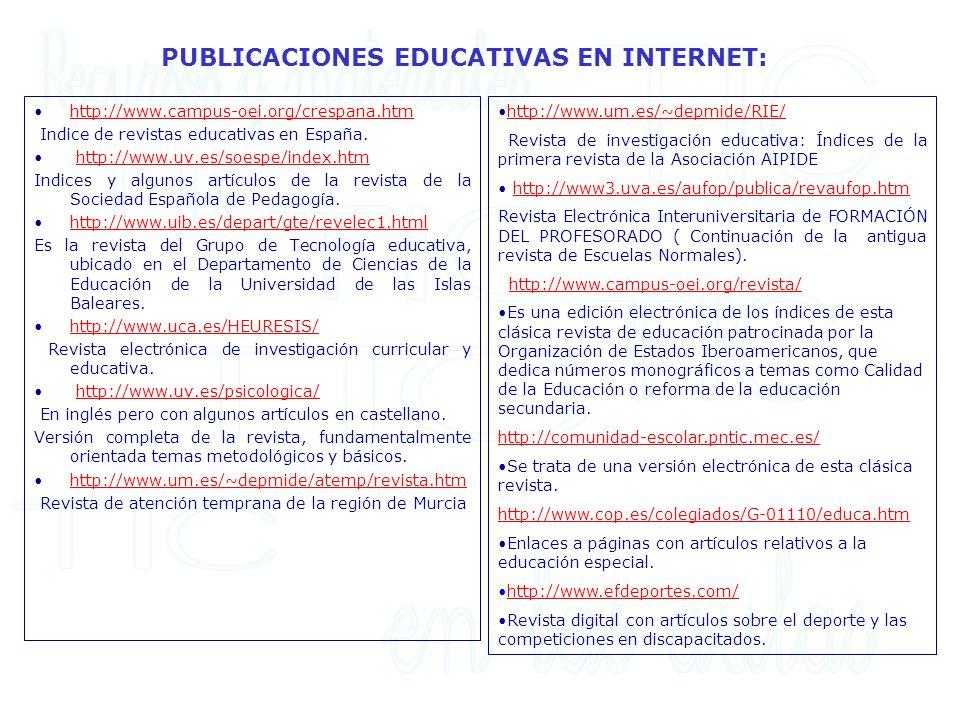 PUBLICACIONES EDUCATIVAS EN INTERNET: