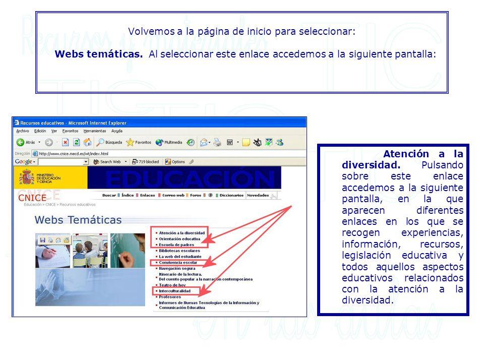 Volvemos a la página de inicio para seleccionar: Webs temáticas