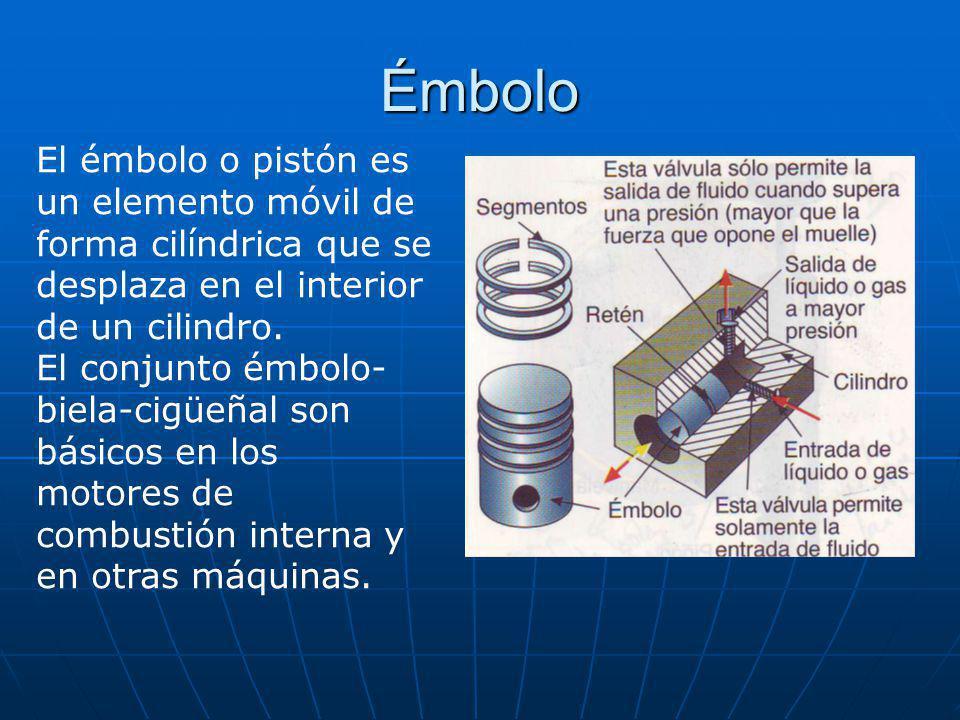 Émbolo El émbolo o pistón es un elemento móvil de forma cilíndrica que se desplaza en el interior de un cilindro.