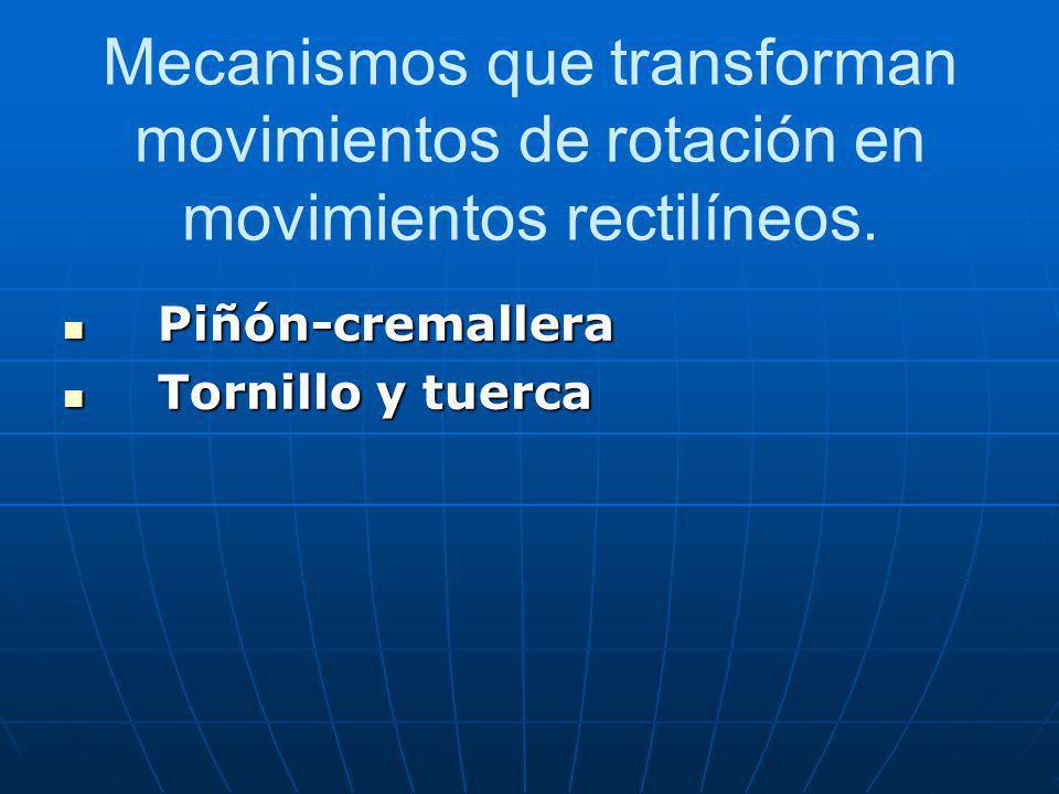 Mecanismos que transforman movimientos de rotación en movimientos rectilíneos.