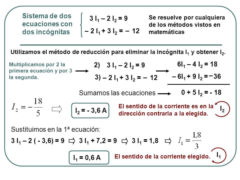 Sistema de dos ecuaciones con dos incógnitas 3 I1 – 2 I2 = 9