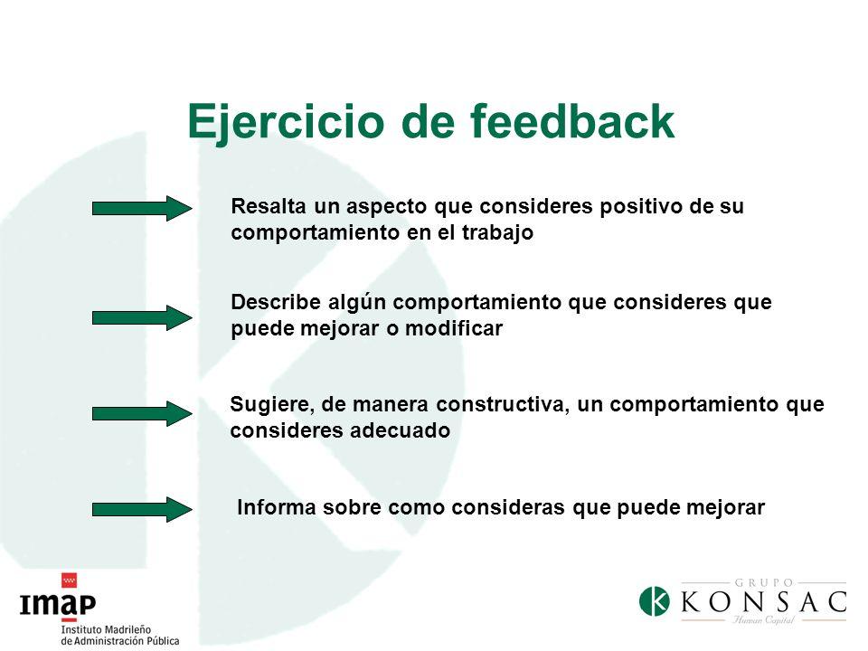 Ejercicio de feedback Resalta un aspecto que consideres positivo de su comportamiento en el trabajo.