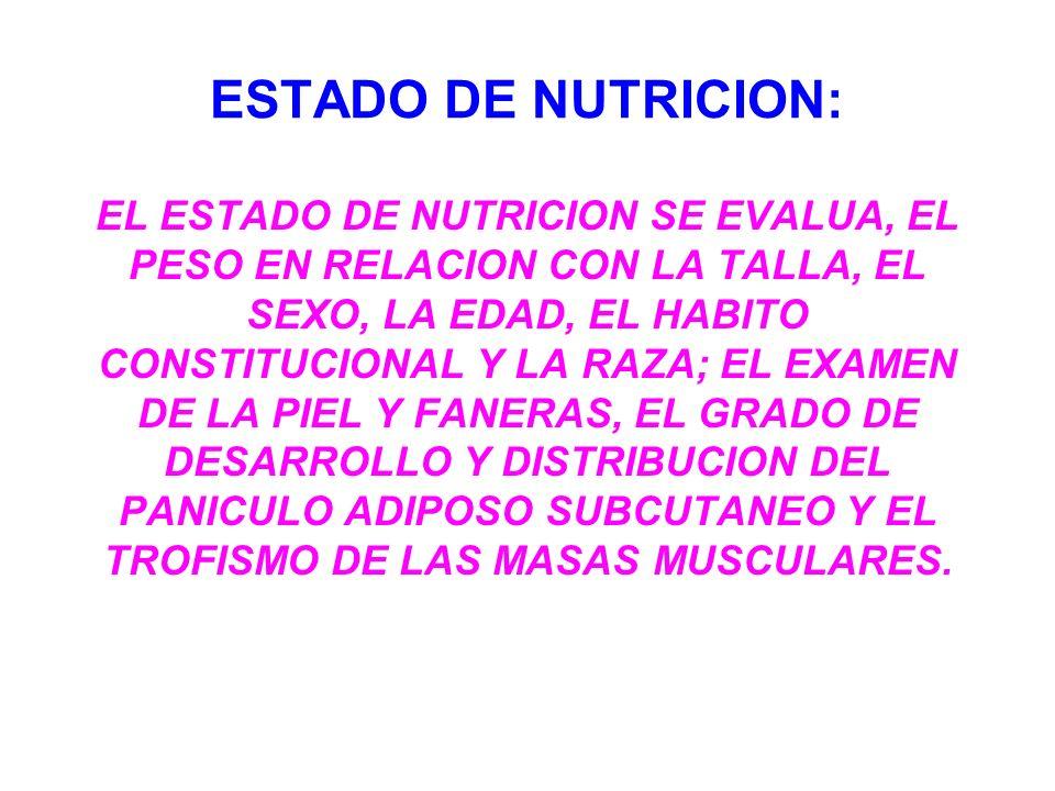 ESTADO DE NUTRICION: