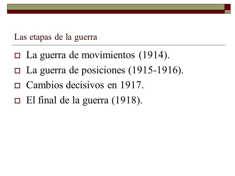 La guerra de movimientos (1914). La guerra de posiciones (1915-1916).