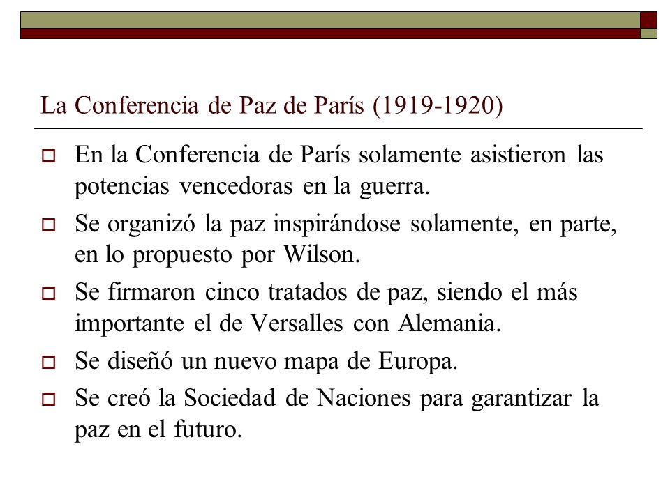 La Conferencia de Paz de París (1919-1920)
